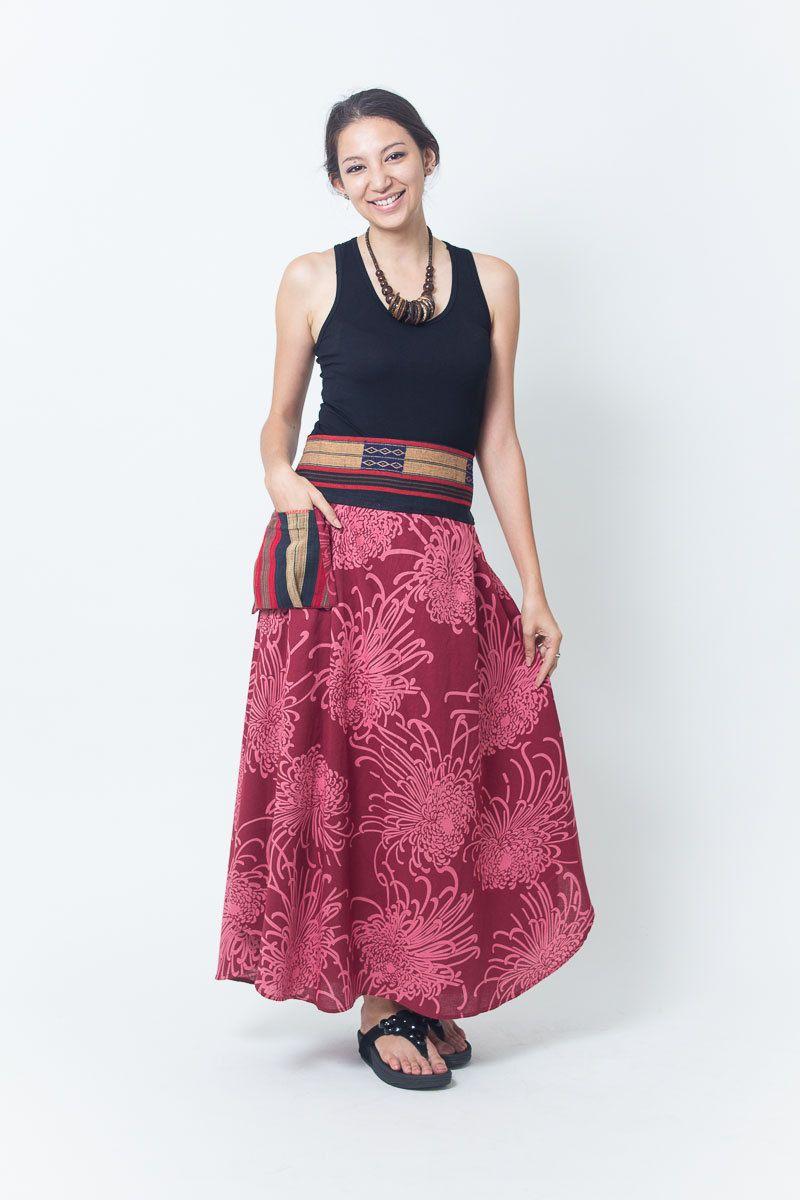 Boho chic organic cotton tiedye gypsy skirt nepal bit