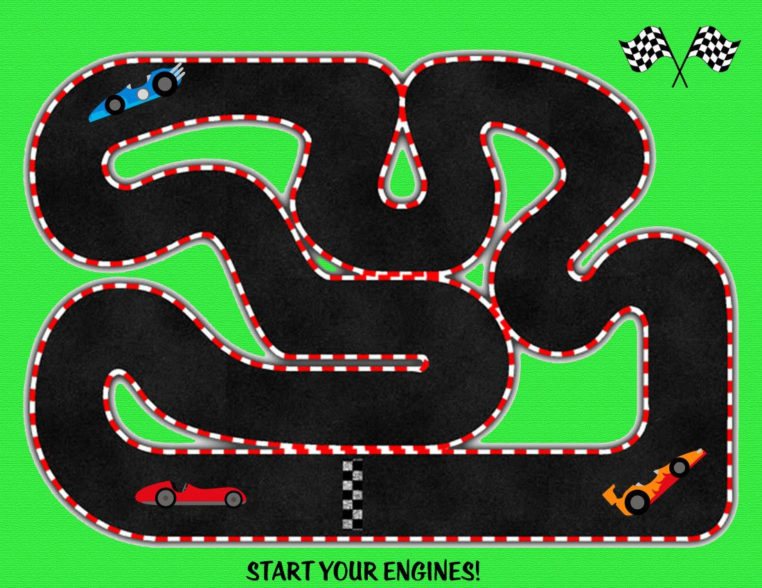 Race Track Printable Race Tracks Books And Busy Bags