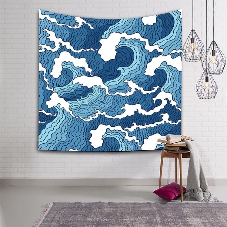 Blue White Japanese Waves Ocean Tapestry Home Living Room Decor