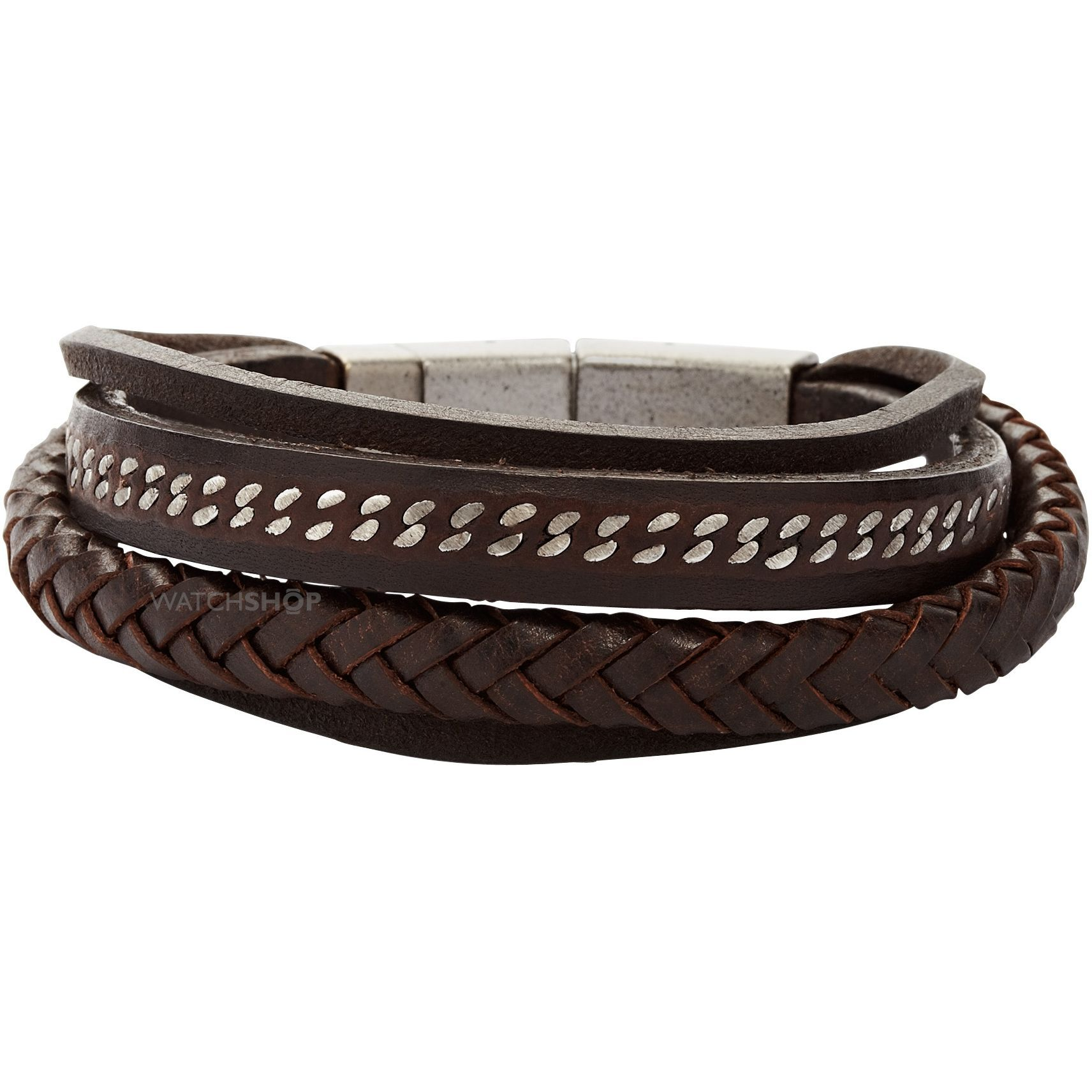 Fossil Jewellery Men's Stainless Steel Leather Bracelet