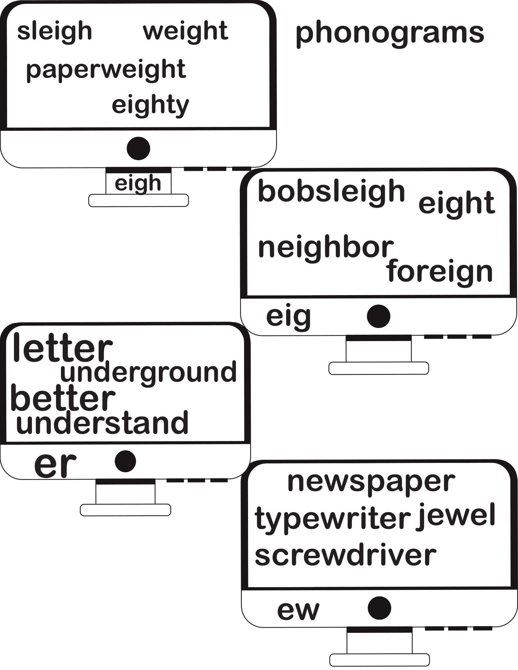 Phonograms Practice The Sounds Eigh Eig Er Ew Reading Writing Writing Phonograms [ 2200 x 1700 Pixel ]