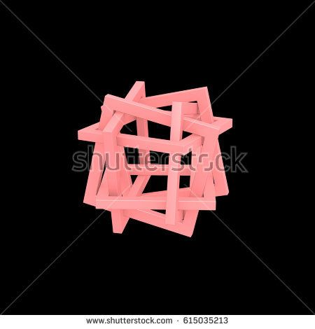 3D orderly tangles based rectangle. Object material is pink. Background color is black.