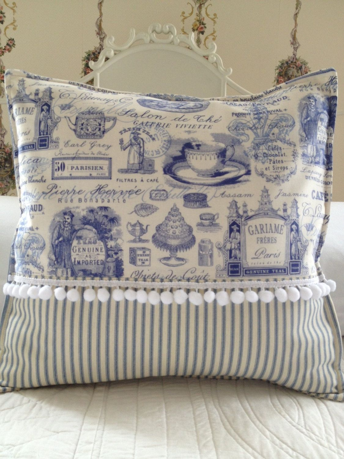French Country Pillow Cover Shabby Chic Paris