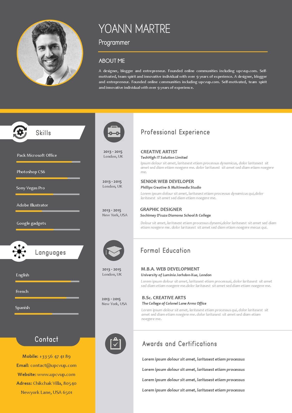 Modèle de CV design prêt à l'emploi à télécharger en