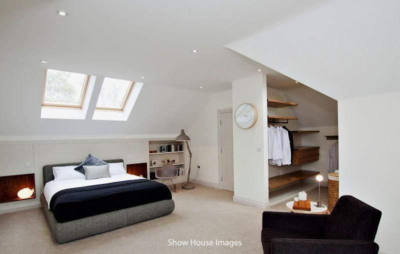 Photo Of Beige White Loft Conversion With Wall Clock And Wardrobes