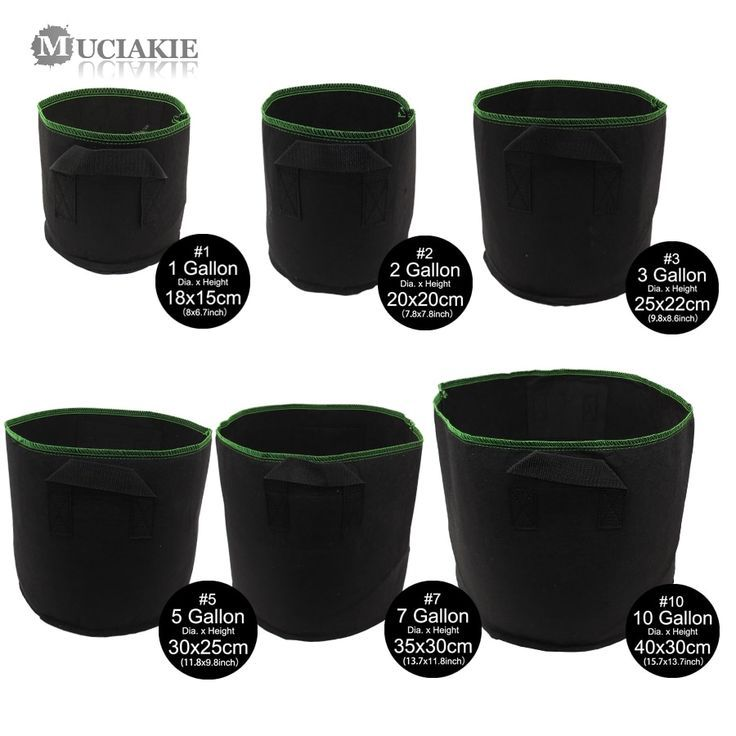 Muciakie 1 10 Gallon Hydroponic Root Fabric Smart Pot Grow Bags Garden Plant Container Pouch Bag Fabric Breathable Pots Container Plants Grow Bags Hydroponics