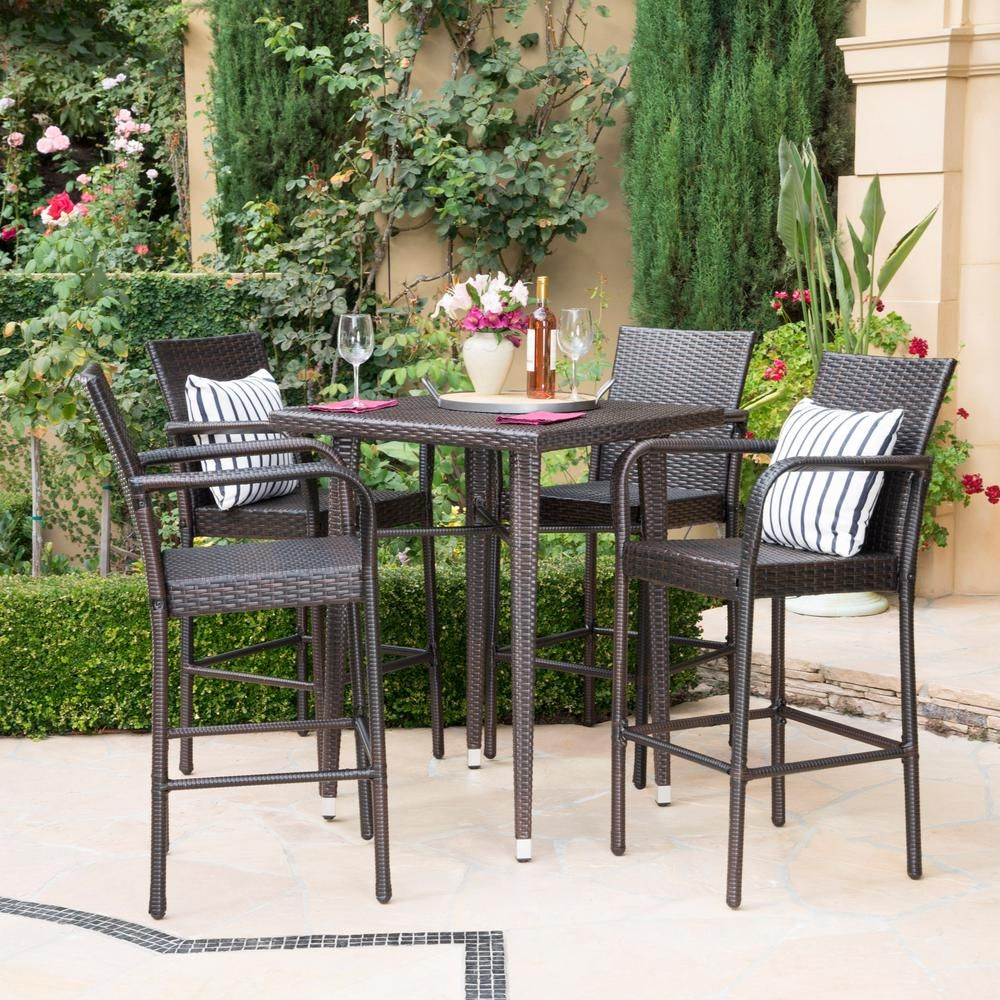 Noble House Multi Brown 5 Piece Wicker Square Outdoor Bar Height Dining Set 21871 The Home Depot Bar Height Patio Set Patio Furniture Deals Outdoor Bar