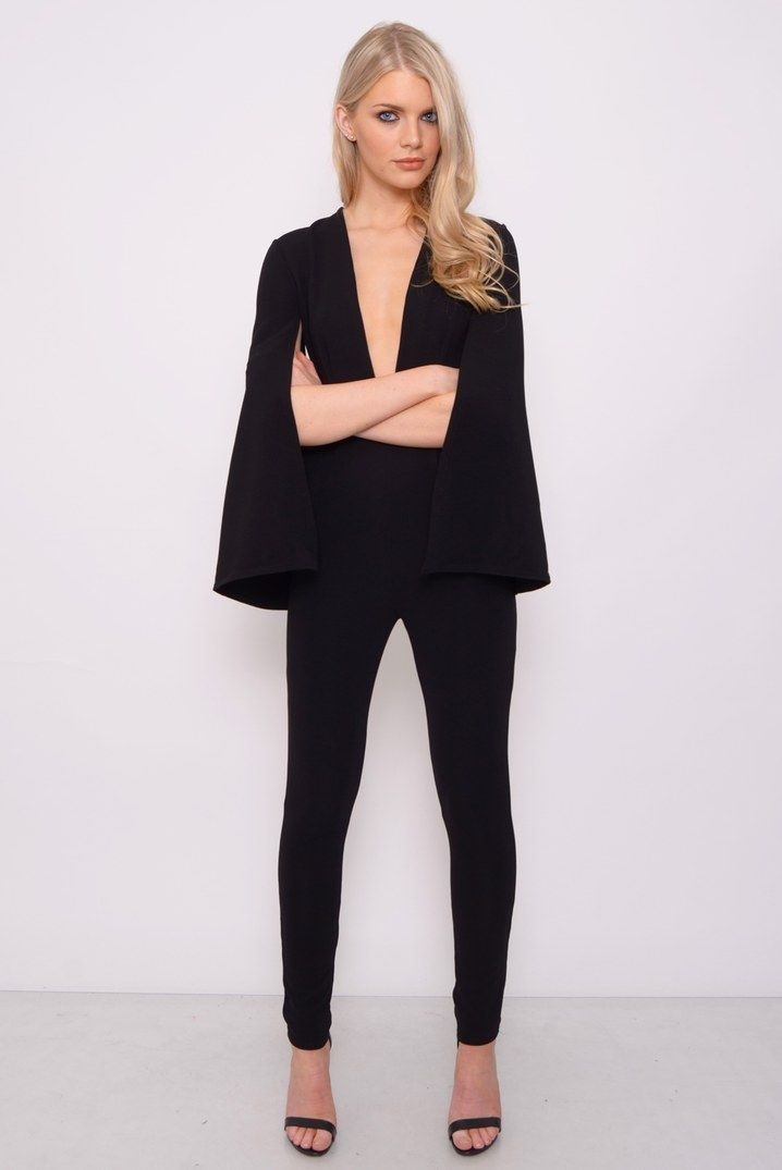 3d46350ae0b0 Black Cape Sleeve Jumpsuit
