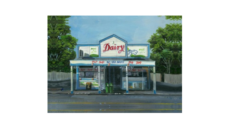 print from a painting on canvas of the Featherston dairy in the Wairarapa