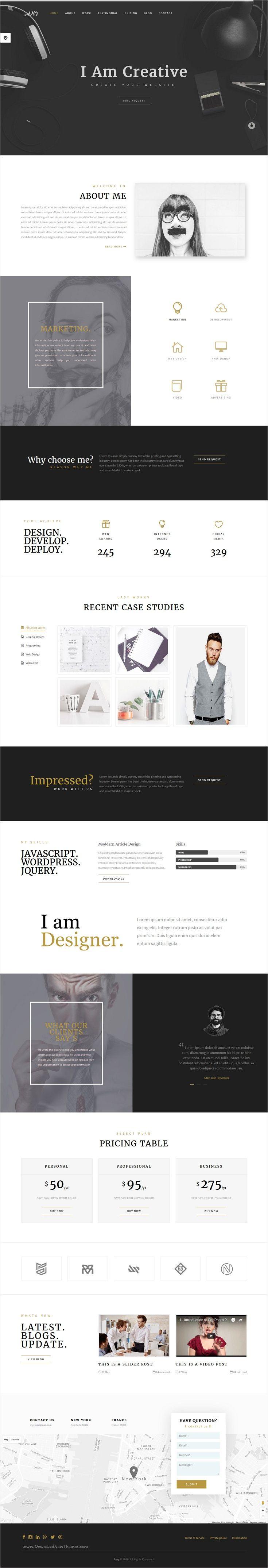 Amy - Responsive Corporate, Business & Portfolio Template ...