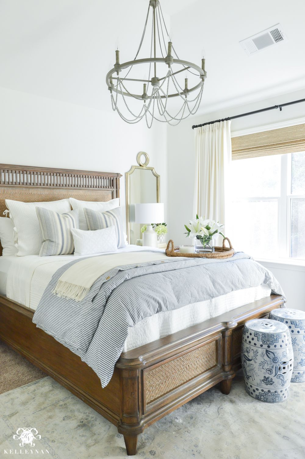 One Room Challenge Blue And White Guest Bedroom Reveal Before And After  Makeover  Guest Bedroom Decorating Ideas
