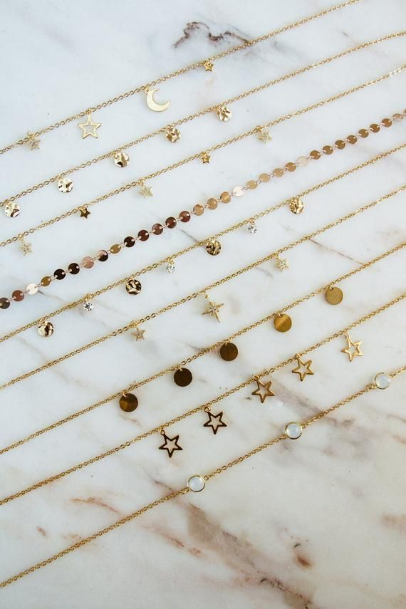 Photo of Golden chokers, dainty necklaces, moon phases, gold coins, stardust, stars choker, north star necklace