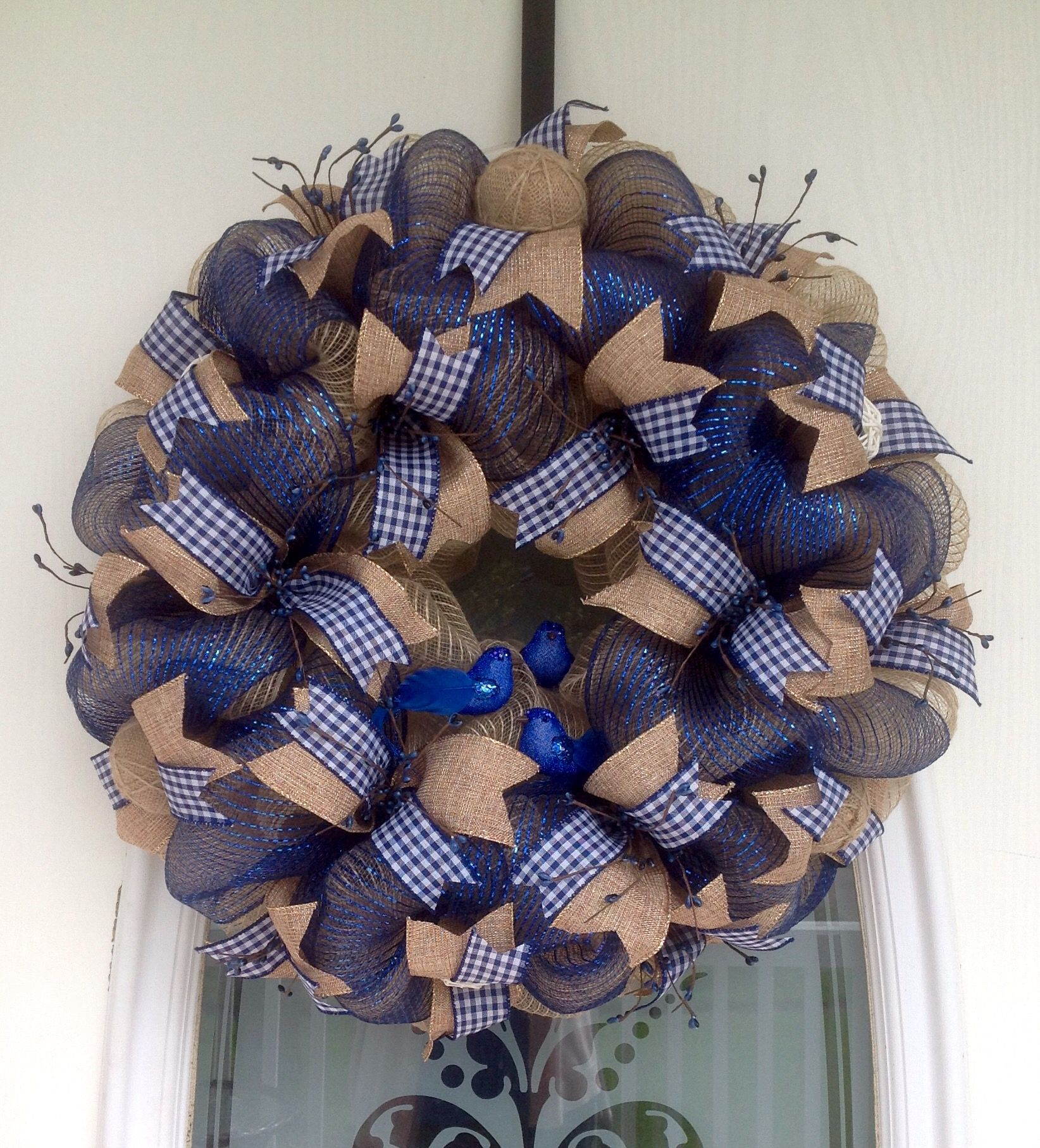 22 Tan Burlap And Navy Blue Deco Mesh Wreath With Country Ribbons