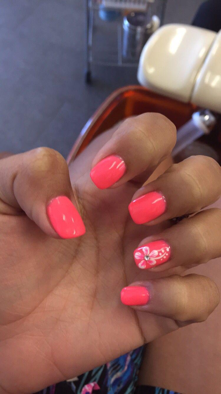 Pink coral hawaiian flower nails design art shellac gel nail