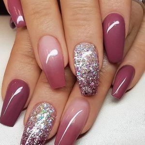 red wine ombre glitter coffin acrylic nails wine ombre
