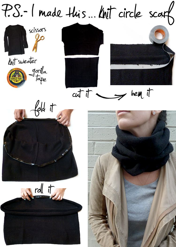 """Can't knit? Simply cut off the bottom half of your sweater, hem the raw edge with Gorilla Tape by sticking halfway down, and folding over to seal.  After completely """"hemmed"""", roll underneath several times to hide the tape and create a soft edge. psimadethis.com"""