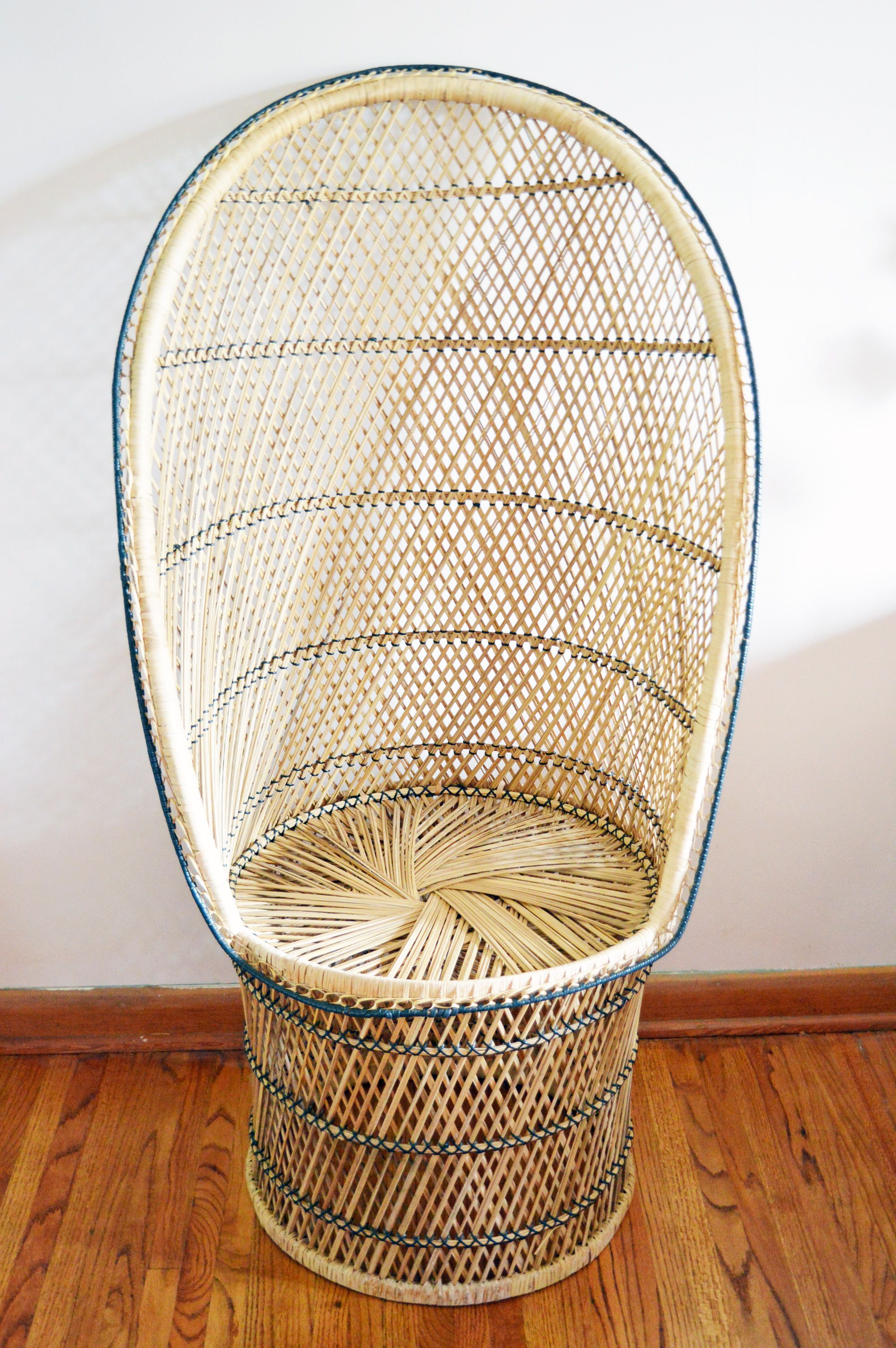 Vintage Rattan Egg Shaped Peacock Chair for Sale by Prairie Bazaar
