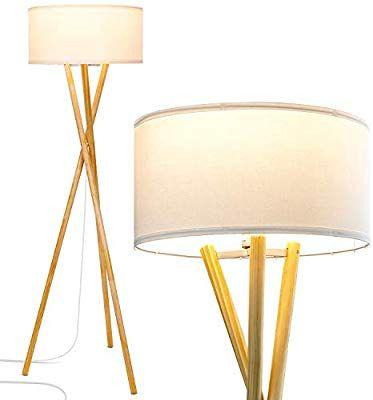 Brightech Harper Led Tripod Floor Lamp Wood Mid Century 400 x 300