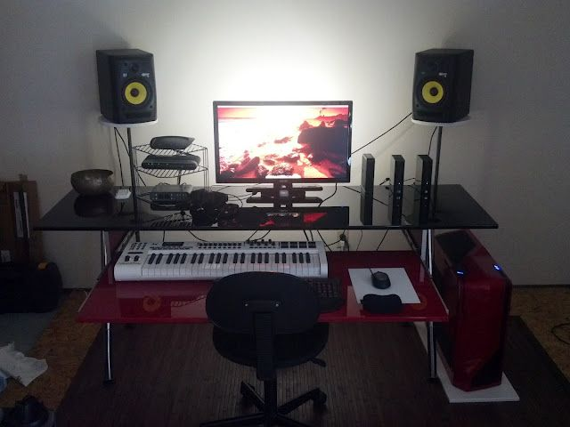 Biginfrikinhevi red and black home studio desk home studio gear