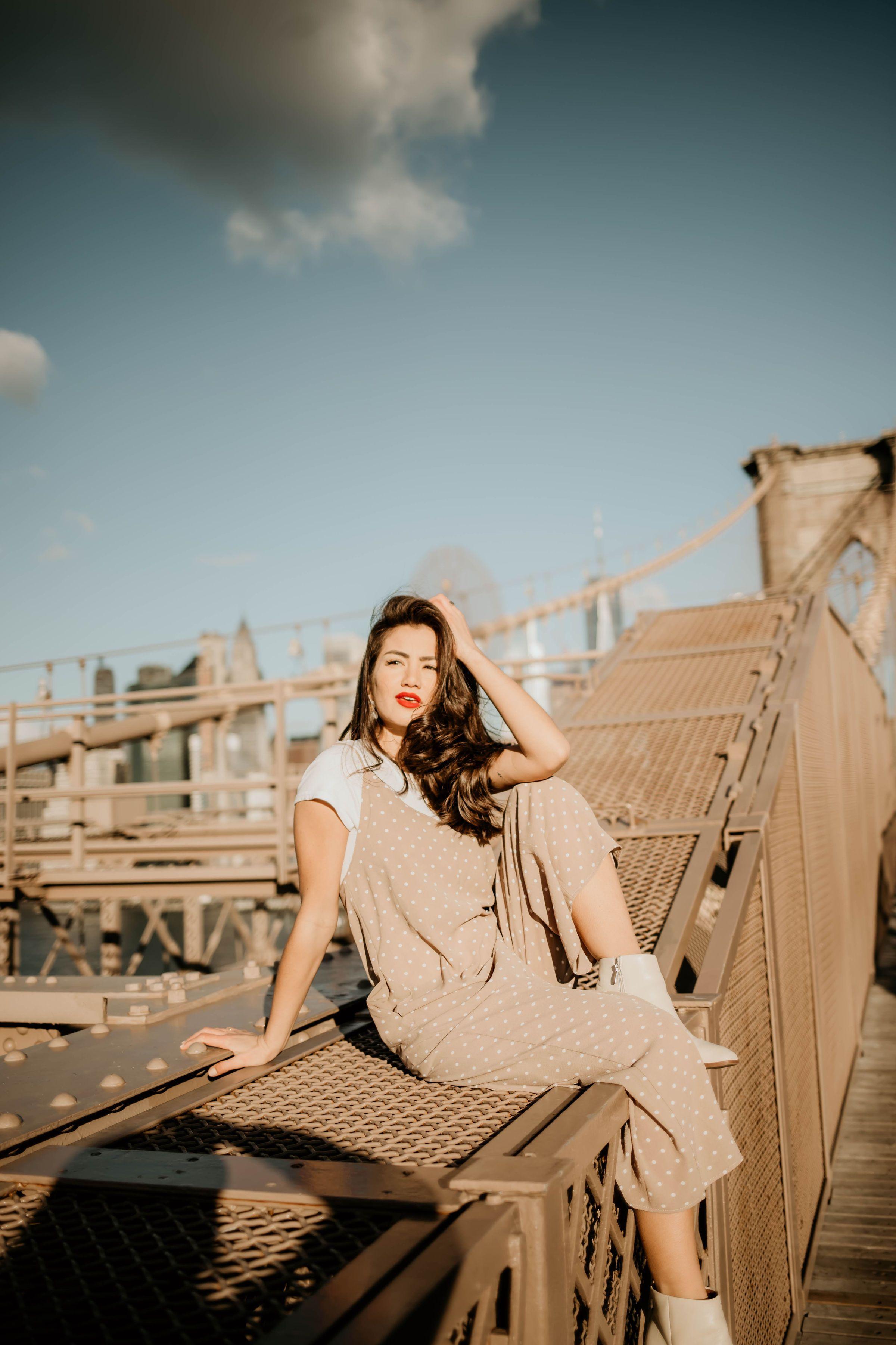 5f7e3d35c9 Spring Wardrobe | Brooklyn Bridge | New York City | Polka Dot | Jumpsuits |  Overalls | White Bootie | California Vibes | Caila Quinn | The Bachelor |  Travel ...