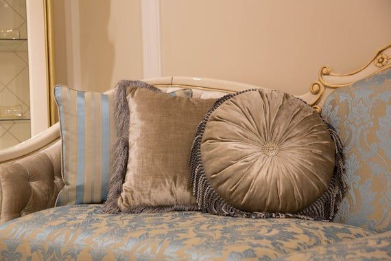 Velvet Round Pillow with İnsert, Pillow Cover with Tassel, Luxury Fabric