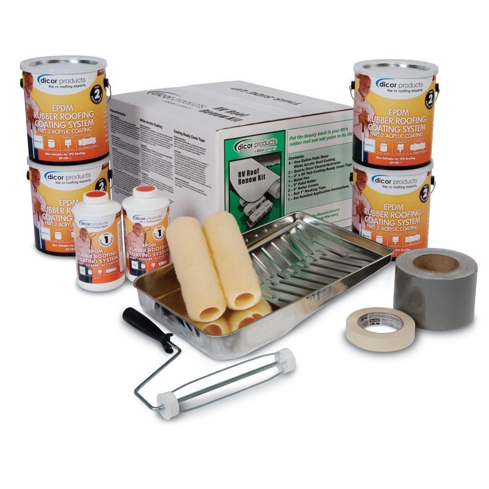 Dicor Rv Roof Renew Kit In Tan Rp Rrkt 30 The Home Depot In 2020 Rv Roof Repair Roof Repair Rubber Roof Coating