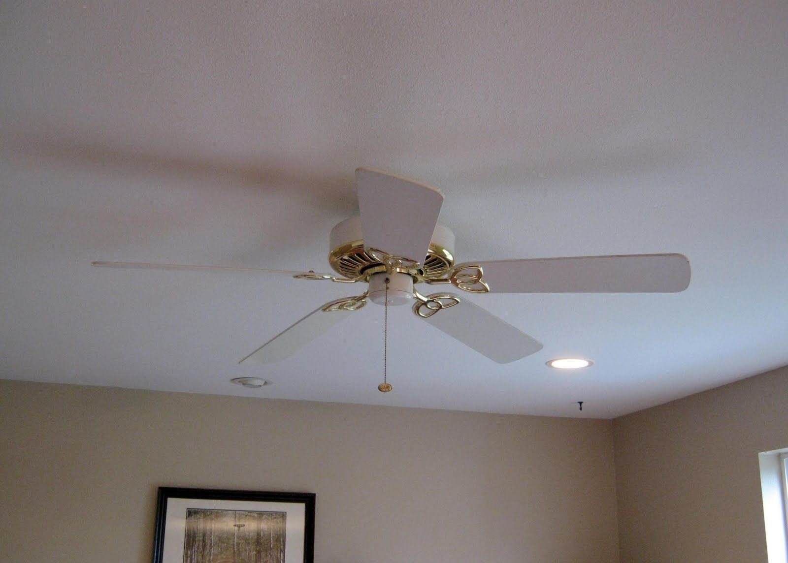 White And Gold Ceiling Fan With Light