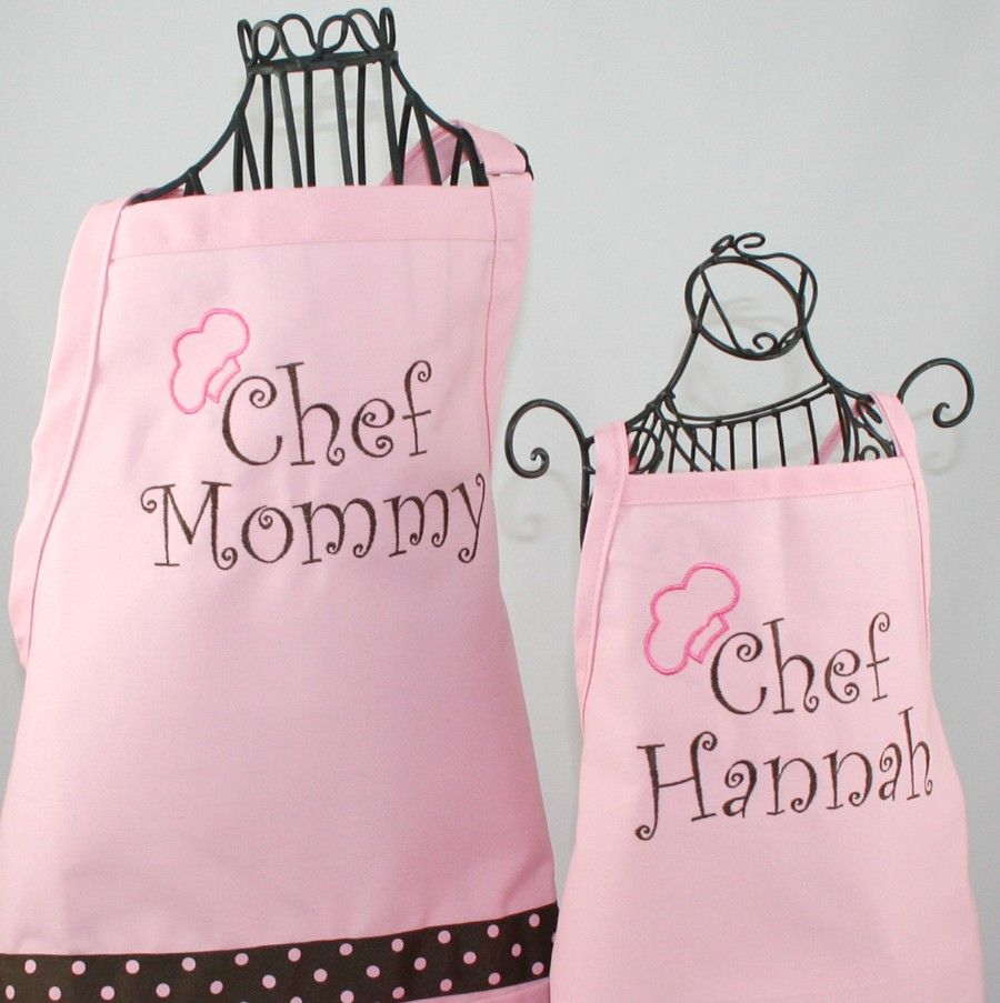 Mother Daughter A Hat Gift Set Personalized Chef Mommy And Matching Pink
