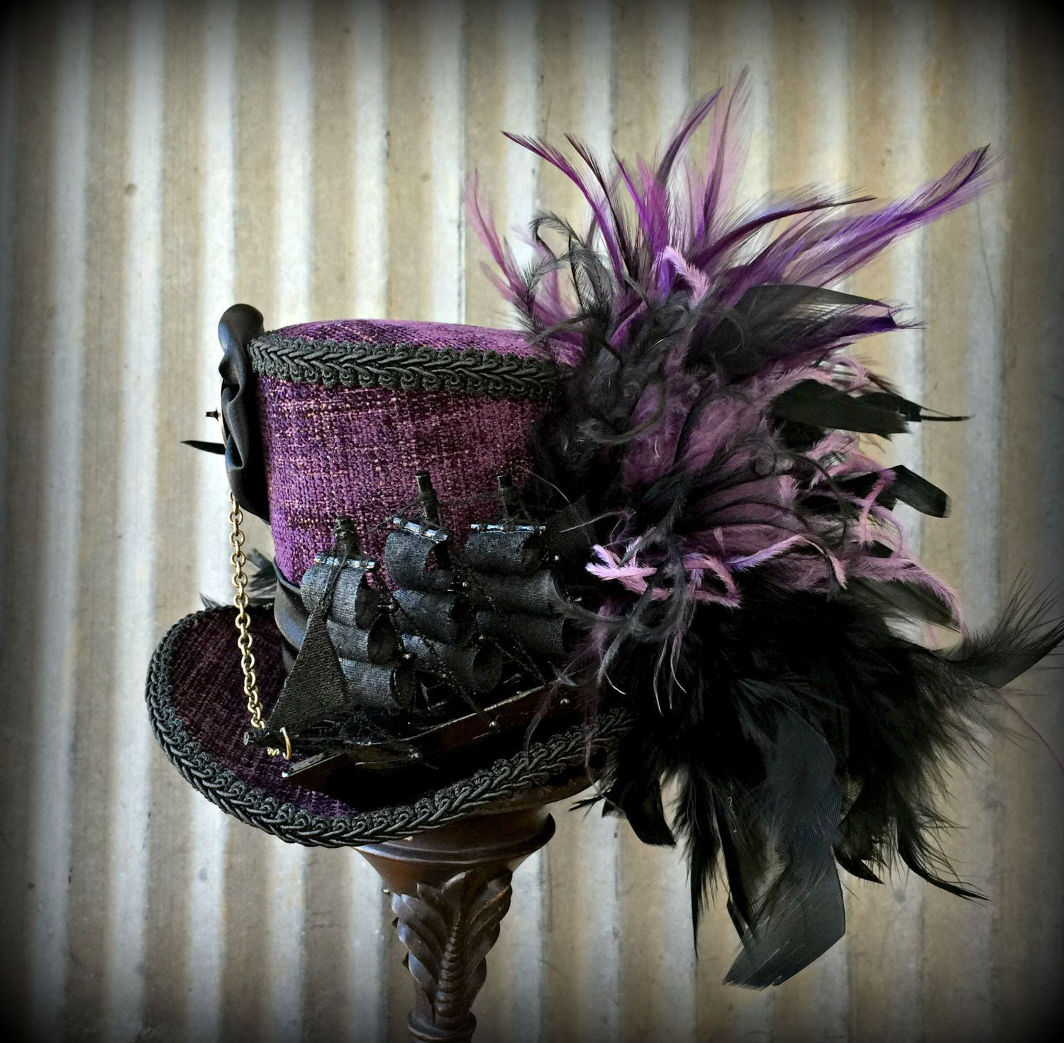 Purple Mini Victorian Top Hat with Hair Clips Steampunk Burlesque Vintage Gothic