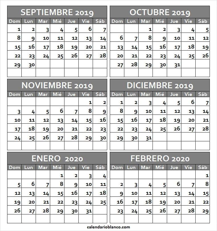 Febrero 2020 Calendario.Calendario Septiembre 2019 A Febrero 2020 Para Imprimir Calendario