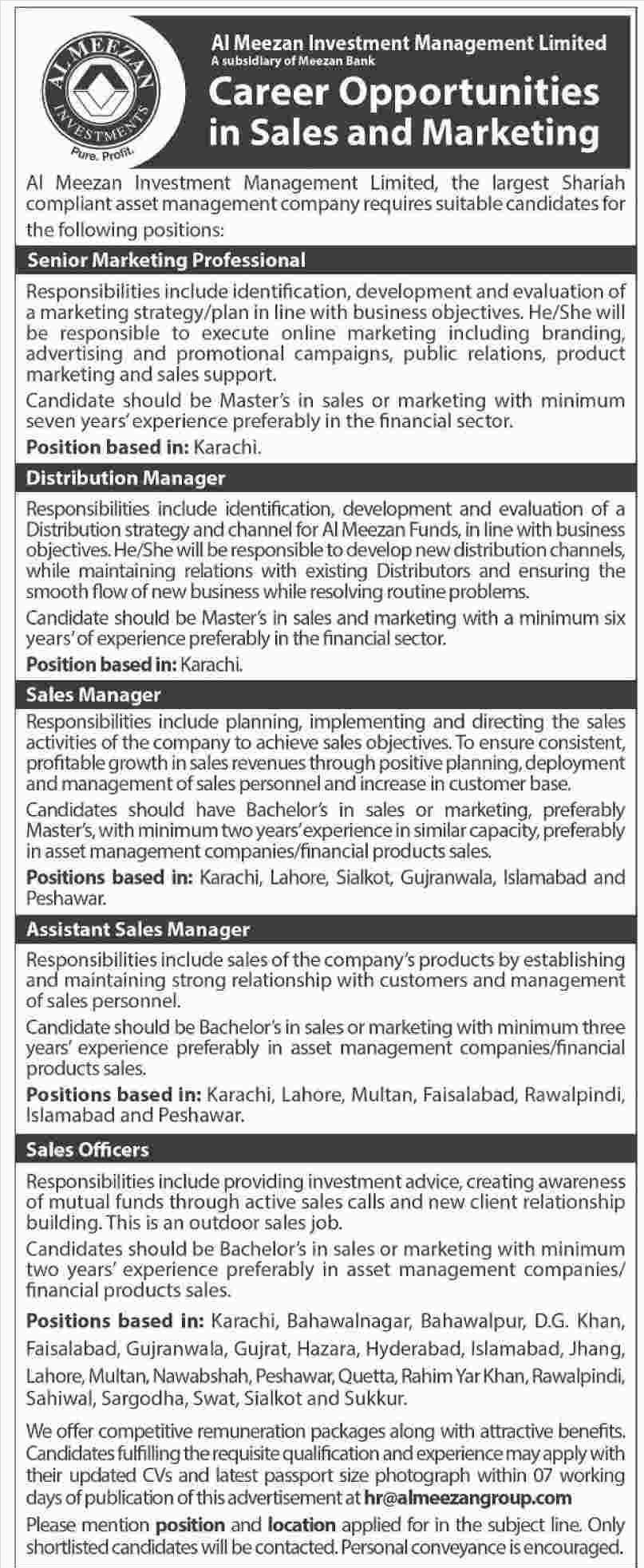 Jobs in Al Meezan Investment Management Limited Latest
