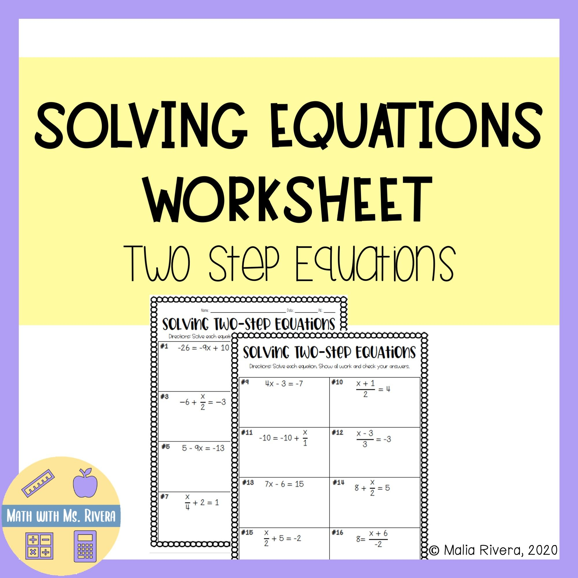 Solving Two Step Equation Worksheet In