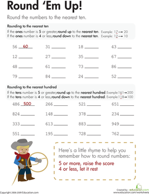 Rounding Round Em Up Worksheet Education Com Third Grade Math Worksheets Third Grade Math Rounding Worksheets