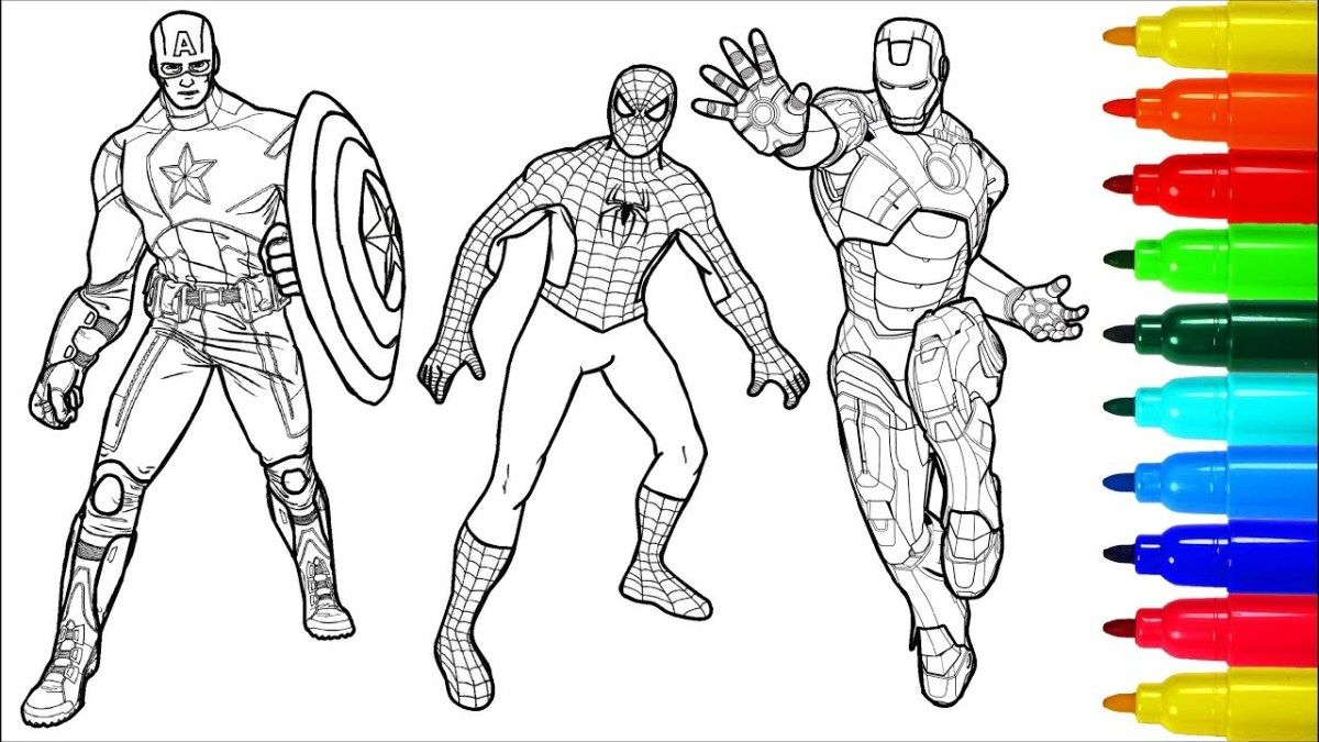 Captain America Coloring Page Spiderman Captain America