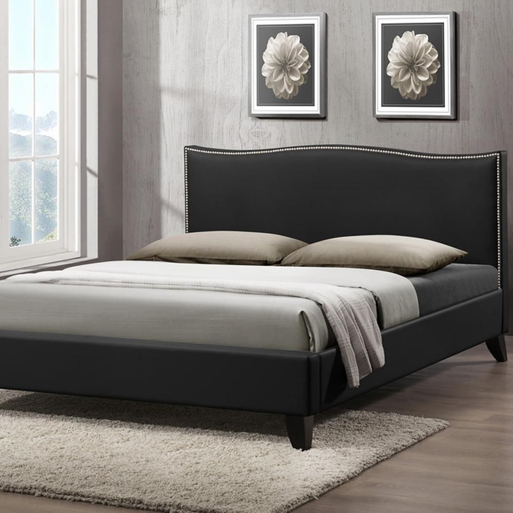 06528e3e0ef79e Baxton Studio Battersby Transitional Black Faux Leather Upholstered Queen Size  Bed