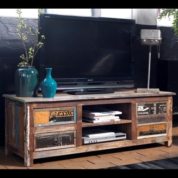 design tv element teak holz tv media hifi element rack tv lowboard sidebaoard in m bel. Black Bedroom Furniture Sets. Home Design Ideas