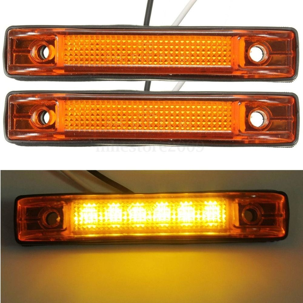 2x 6 Led Clearance Side Marker Light Indicator Lamp Truck Trailer 12v Yellow Amber 24v Led Cool Things To Buy Light Red