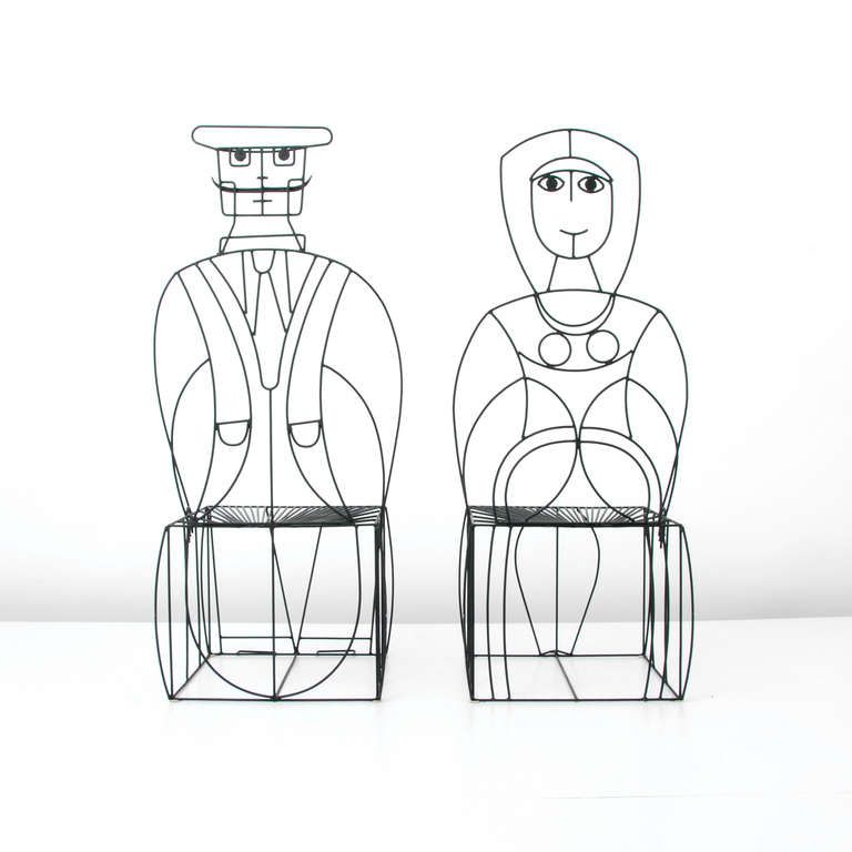 Pair of John Risley Figural Chairs | From a unique collection of antique and modern chairs at http://www.1stdibs.com/furniture/seating/chairs/