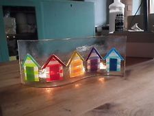 Beach Hut Art Fused Glass Candle Screen 25 x 10 cm approx