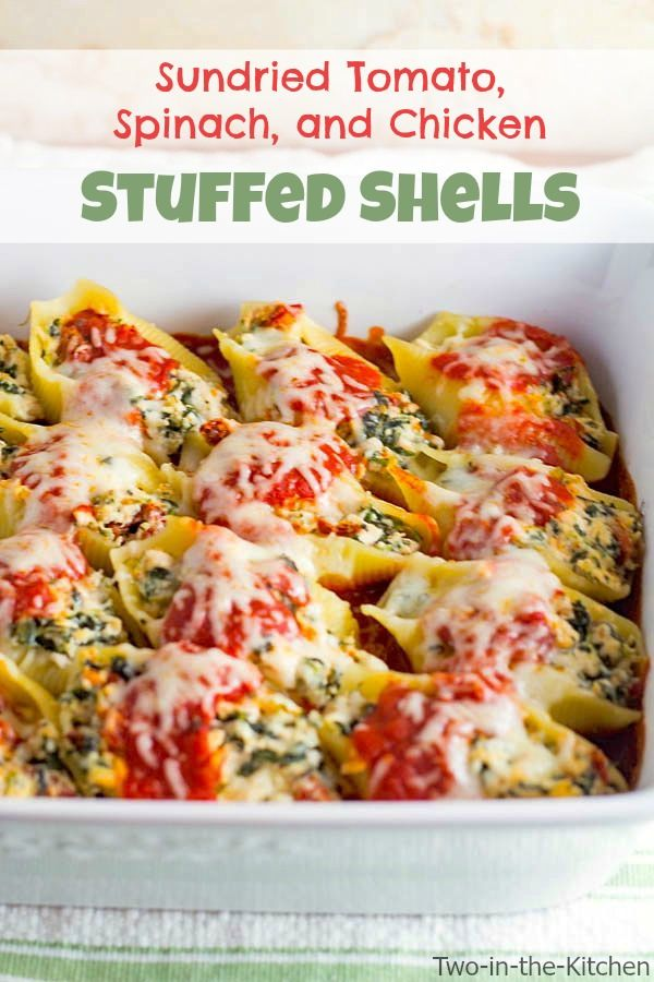 Sun dried tomato spinach and chicken stuffed shells recipe sun dried tomato spinach and chicken stuffed shells forumfinder Image collections