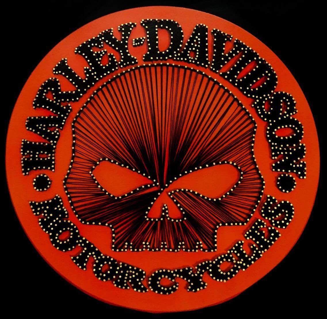 harley davidson skull black orange motorcycle string art