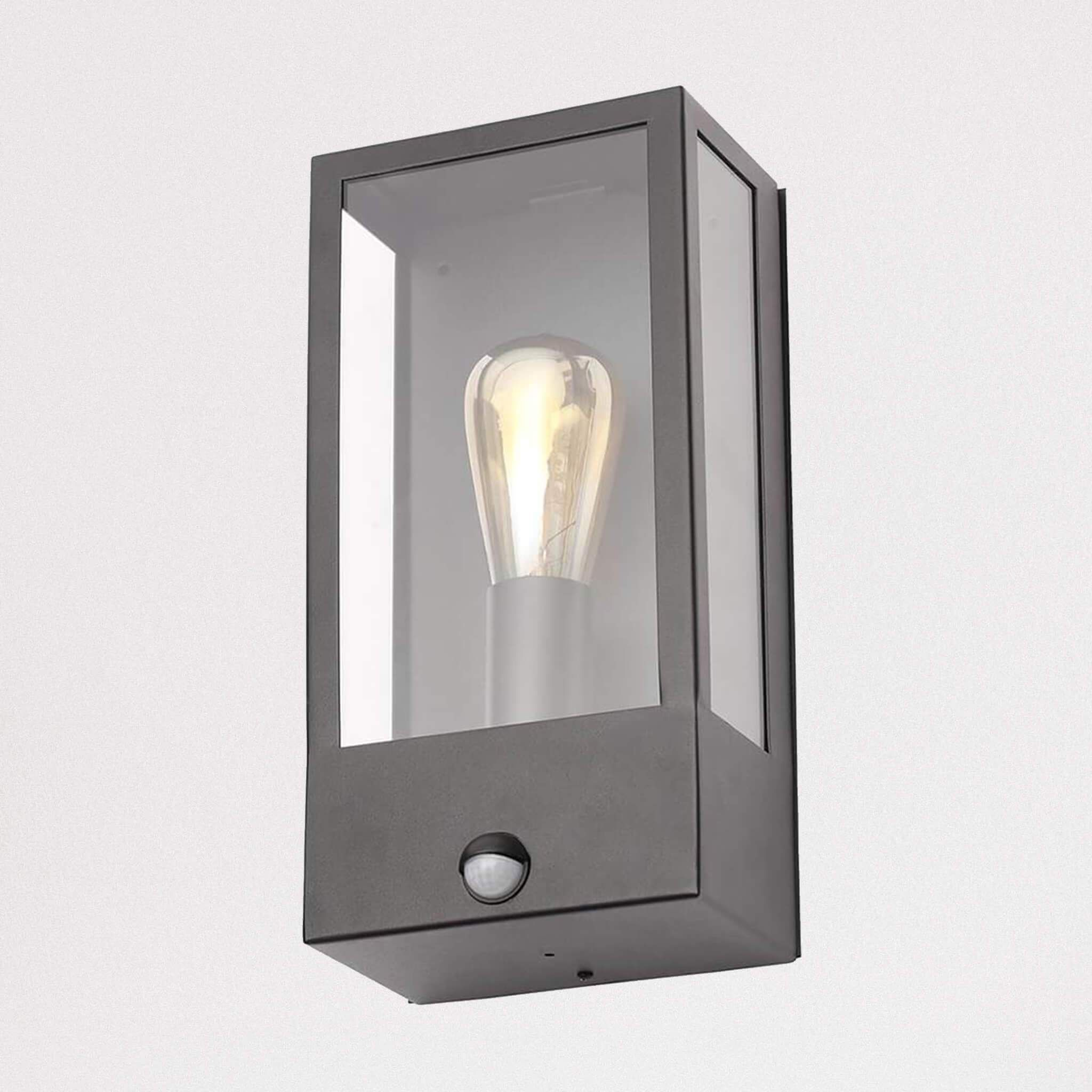 Nomad Glass Box Pir Sensor Wall Light Black Wall Lights Glass