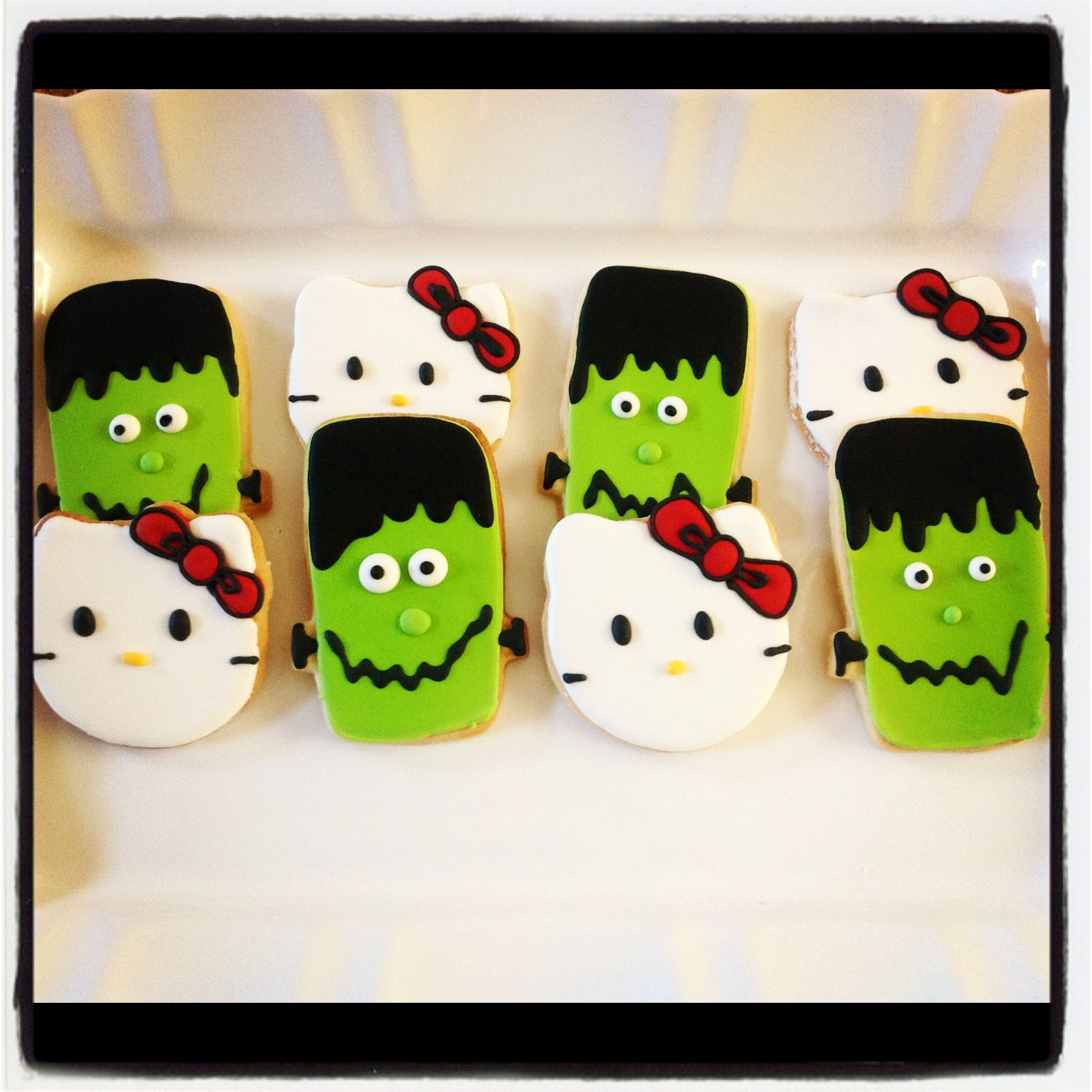 Frankenstein and hello kitty cookies