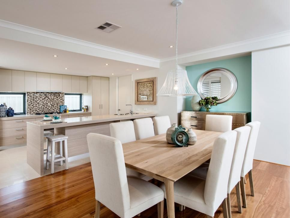 Warm Wood In The Eating Space And Color A Soft Blue Green