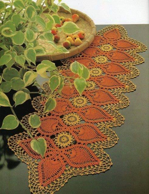 Centrino Rettangolare Uncinetto Con Pigne Dantel Crochet Doily