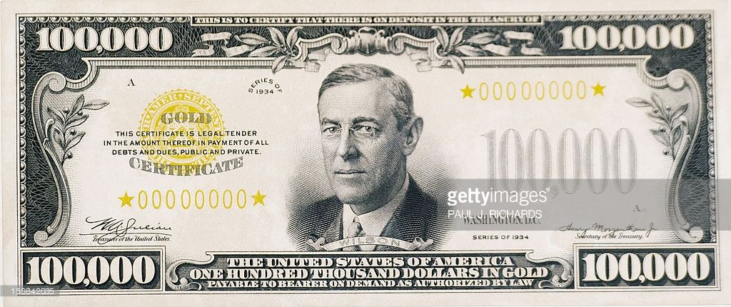 A display version of the 100,000 Dollar Gold Certificate bearing the