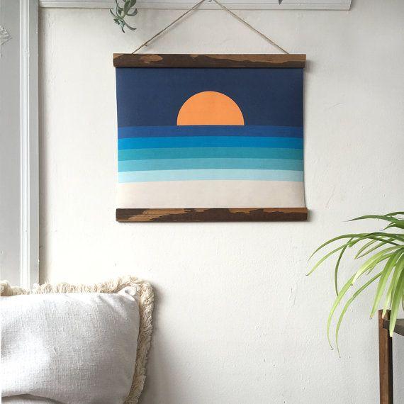 Ocean Sunset Pull Down Chart Linen Banner MCM Art Retro Decor Linen Wall Hanging…