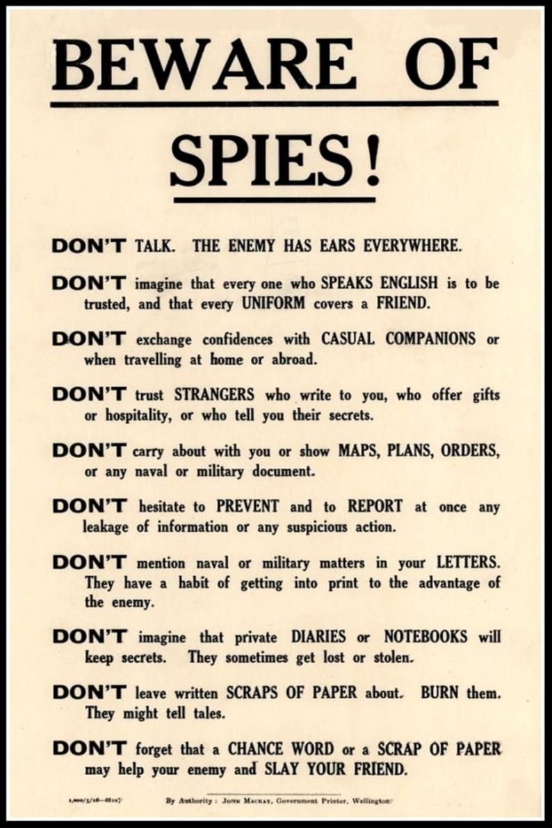 Beware of Spies Government Security Notice WWI Pri