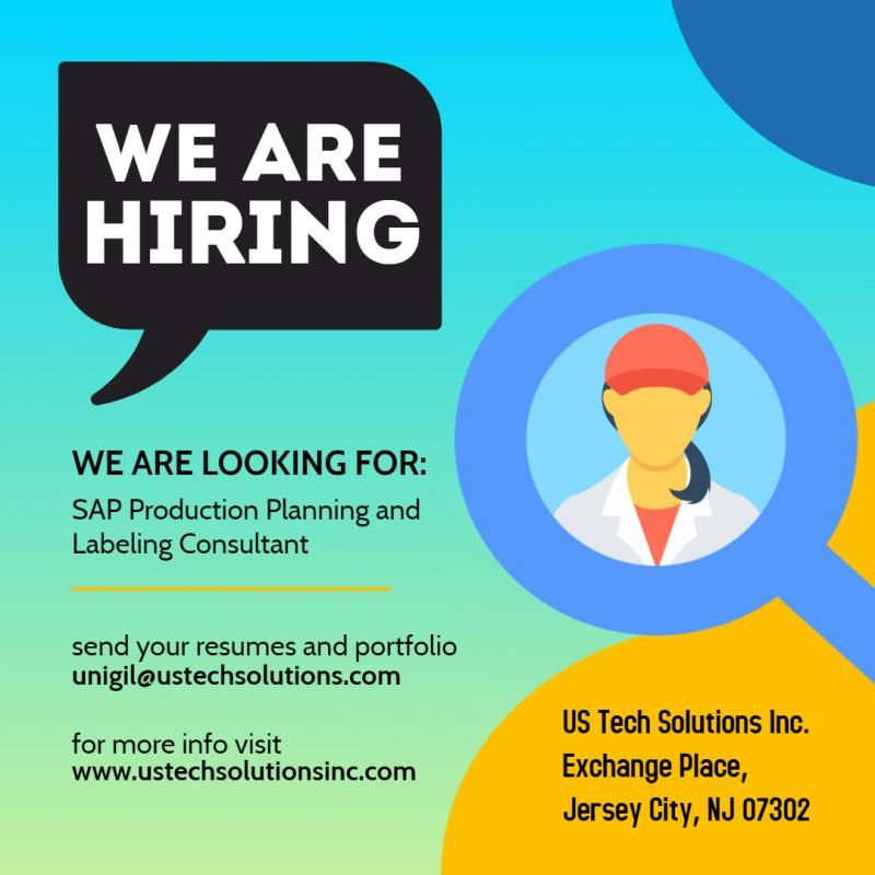 We Are Hiring We Are Looking For Job Title Sap Hashtag Production Planning And Labeling Consultant Location S We Are Hiring Business Process Job Title