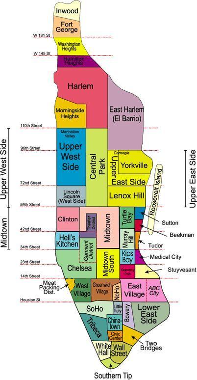 10 Manhattan Neighbourhoods Manhattan Neighborhoods New York Neighborhoods Manhattan Map
